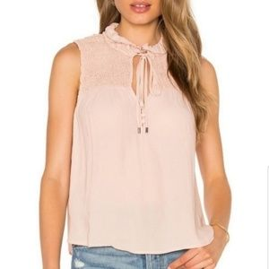 Free People Boho Gathered Front Tie Sleeveless Top